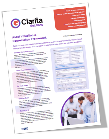Clarita offers Maximo Extension Frameworks for asset valuation & depreciation and fleet management